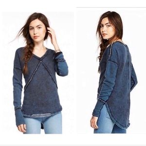 FREE PEOPLE WESTEROS Ink Blue V-Neck Sweatshirt